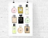 Chanel Perfumes x 9 Fashion Illustration Art Print