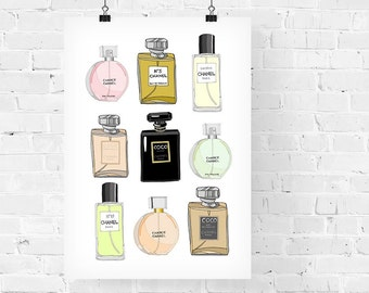 Chanel Perfumes x 9 Fashion Illustration Art Print