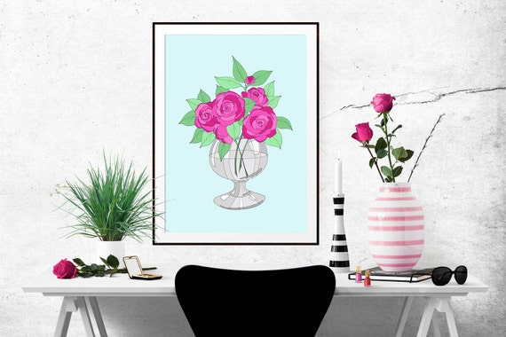 Bright Roses Decorative Illustration Art Poster