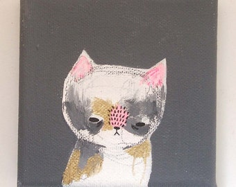 cat painting, a little gold