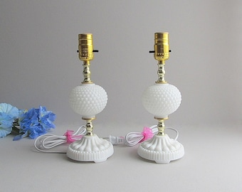 Vintage Milk Glass Lamps Hobnail Lamps Boudoir Lamps Small Table Lamps Shabby Cottage Chic Lamps
