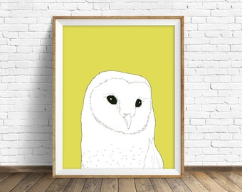 Barn Owl - woodland nursery, woodland, owl, drawing, yellow, white, black and white, kids room art, nursery decor, animal print, animal art