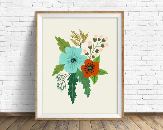 Folk Art Flowers No. 5 - flowers, botanical, art print, large art, large wall art, hand painted flowers, wall art, farmhouse wall art, print