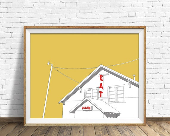 Truck Stop Cafe - drawing, modern, contemporary, large art, large wall art, wood art block, fine art print, ink drawing, farmhouse wall art