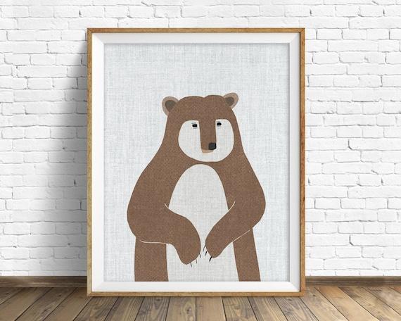 Brown Bear - art print, large art, mid century modern wall art, art for kids, nursery decor, nursery wall art, woodland nursery, nursery art