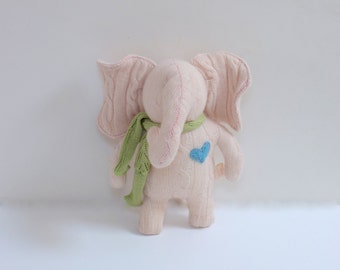 stuffed small Elephant OOAK Pale pink elephant doll eco toy upcycled Cable knit cashmere sweater Baby shower gift soft bubynoa Elifants