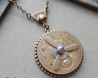 Steampunk Clearance Sale- First Flight, Steampunk Necklace with Propeller and Vintage Watch Face