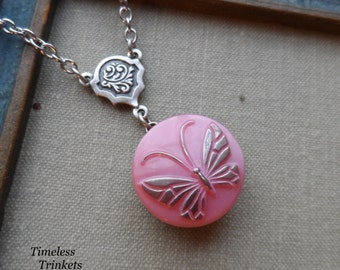 Vintage Glass Button Necklace- Butterfly- Pink - Designs by Timeless Trinkets