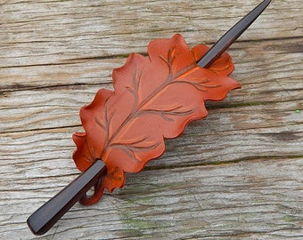 Leather Hairstick  Autumn Oak Hair Slide in Warm Browns Barrette or Shawl Pin with Hardwood Stick