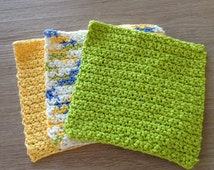Crochet dishcloths in bright colors Set of 3, white, green, yellow and blue, crochet yellow and green washcloth