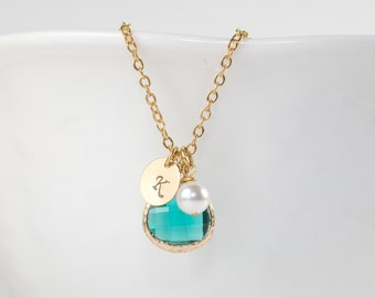 Personalized December Birthstone Gold Necklace, Blue Zircon Gold Necklace, December Birthstone Jewelry, Personalized Gold Necklace #877