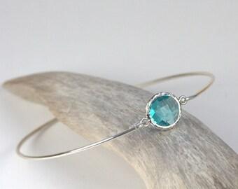 March Birthstone Aquamarine Quartz Silver Bangle, Sterling Silver Bracelet, March Birthstone Bracelet