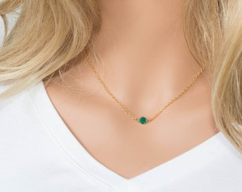 Swarovski Birthstone Necklace, Swarovski Gold Necklace, May Birthstone Gold Necklace, Emerald Gold Necklace, Birthstone Jewelry