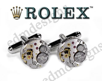 Mens ROLEX Cufflinks Ultra RARE Watch Cuff Links GENUiNE Rolex Wedding Anniversary Groom Father Husband Fiancee Gift - Jewelry by edmdesigns
