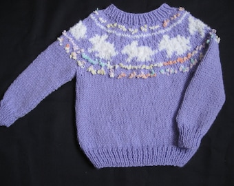 Lavender and White Handknit Yoke/Ski Sweater with Bunnies