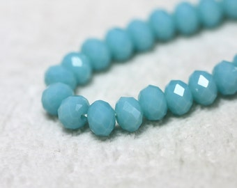 25 pcs. 6x4mm. Light Blue Faceted Rondelle Chinese Glass Crystal