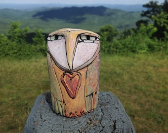 "Owl art, ceramic owl figurine, 4-1/4"" tall, ""Owl Person Dreaming Love"""