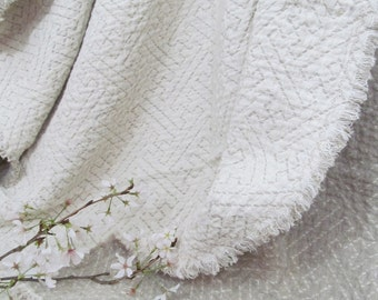 "100% Flax Blanket Linen Throw, Picnic Cloth, Dorm Room, Bunk Bed, bedspread, summer blanket, geometric design, 50 x 80"" fringed or hemmed"