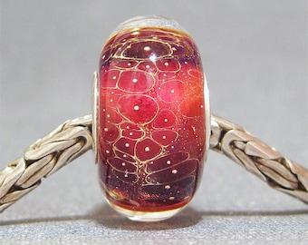 Handmade Lampwork Bead Glass Big Hole Euro Charm Bead SRA OOAK Cherry Bomb