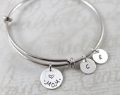 Lustrous Elements, Minimal Bracelet, Mom Bangle Bracelet with Mom & Initial Charms, Personalized Bracelet, Custom Hand Stamped