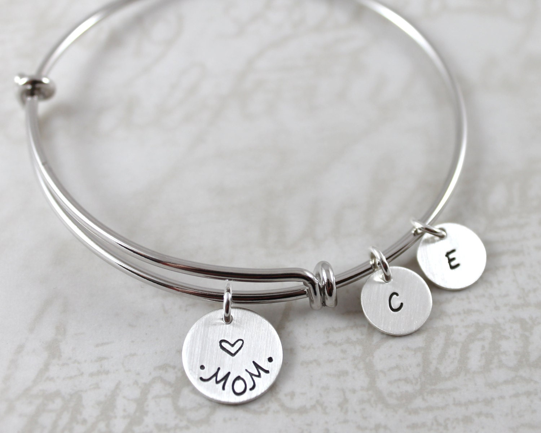 Custom Name, Charm Bracelet, Mother's Day, Mom Gift, Personalized Bangle  Bracelet, Personalized Bracelet, Custom Hand Stamped