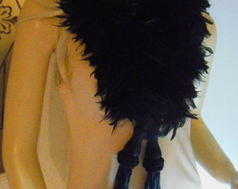 Vintage Feather Boa long black Stole with Fringed Tassles, Burlesque Flapper