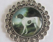 Spaniel dog  pendant   silver dish with glass dome loop at top  G8 jewelry supplies findings hunt equestrian