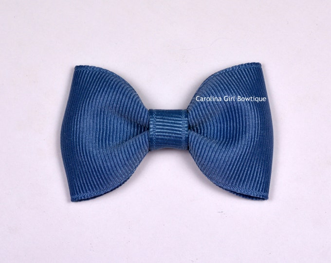"""Williamsburg Blue  2.5"""" Hair Bow Tuxedo Bow Simple Bow Boutique Bow for Babies Toddlers Girls Hair Bows"""