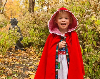 Little Red Riding Hood CAPE Girls Magical Folkloric Cape for Enchanted Forest Toddler Girl Cotton Corduroy