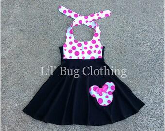 Minnie Mouse Black Pink Dress, Bubble Gum Pink White Polka Dot Minnie Mouse Dress, Minnie Mouse Birthday Dress, Custom Boutique Minnie Dress