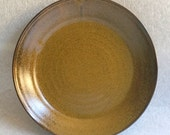 Golden Amber Large Lunch Plate or Small Dinner Plate - Wheel Thrown Pottery - Ready to Ship