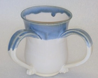 Double Handled Washing Cup - White with Blue Top - Ritual Hand Washing Cup