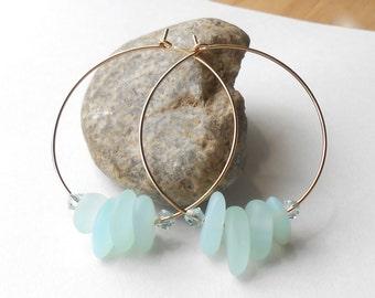 Gold Hoop Earrings with Cultured Sea Glass Beads, Light Aqua Glass Beaded Hoops, Beach Jewelry