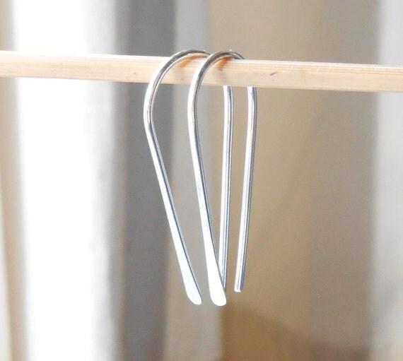 Sterling Silver Open Hoop Earrings, Minimalist U Shaped Hoop, Wire Earrings