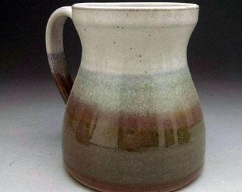 Assorted Stoneware Coffee Mug - Wide Bottom Design - White & Gloss Green.