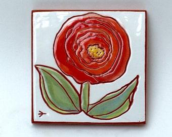 little red flower hand painted ceramic art tile