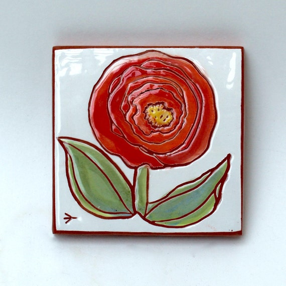 Red flower hand painted ceramic art tile - Hand painted ceramic tile ...