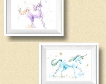 Unicorn Nursery - Watercolor Unicorn Prints - Set of 2 Art Prints