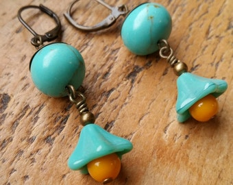 Tallulah...Lampwork vintage style earrings by Pixie Willow Designs