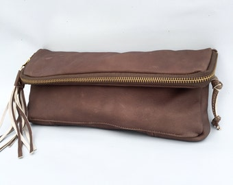 Fold over clutch in taupe brown