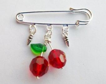 Cherry brooch -cherry pin - rockabilly jewelry - shawl pin - lapel pin - punk jewelry - fruit pin - safety pin - cherry pin
