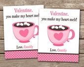 PRINTABLE - Kids Valentine Day Cards - Hot Chocolate - Hot Cocoa - You Melt My Heart - 3.5 x 4.5 - Personalized