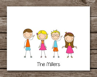Family Note Cards, Stick Family Note Cards, Family Notecards, Stick Family Notecards, Family Stationery, Family Stationary, Personalized