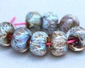Shimmer Green Hazy Blue Tan Spots Lampwork Beads - Boro Beads