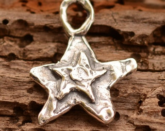 Layered Star Charm in Sterling Silver 303s