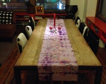 Custom Table Runner - Hand Dyed, blockprinted and painted Art For Your Table - Dawn Patel Art, OOAK table linens made to order, gifts, home