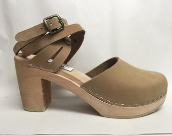 NEW Nude Nubuc Super High Mary Jane and double wrap around ankle strap