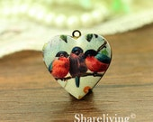 1pcs Vintage Bird Heart Locket Necklace, Swallow Locket Charm Pendant, Antique Bronze Brass Locket - HLK909D