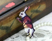 20% OFF SALE - 4pcs Alice in Wonderland White Rabbit Wooden Charms / Pendants HW009A