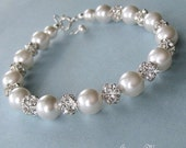 Bridal Pearl Bracelet - Crystal Rhinestone Fire Ball and Pearl Bridal Bracelet in White or Ivory Pearls - Wedding Jewelry for the Bride